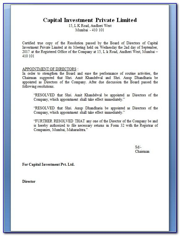 Private Limited Company Board Resolution Format For Bank Account Closing