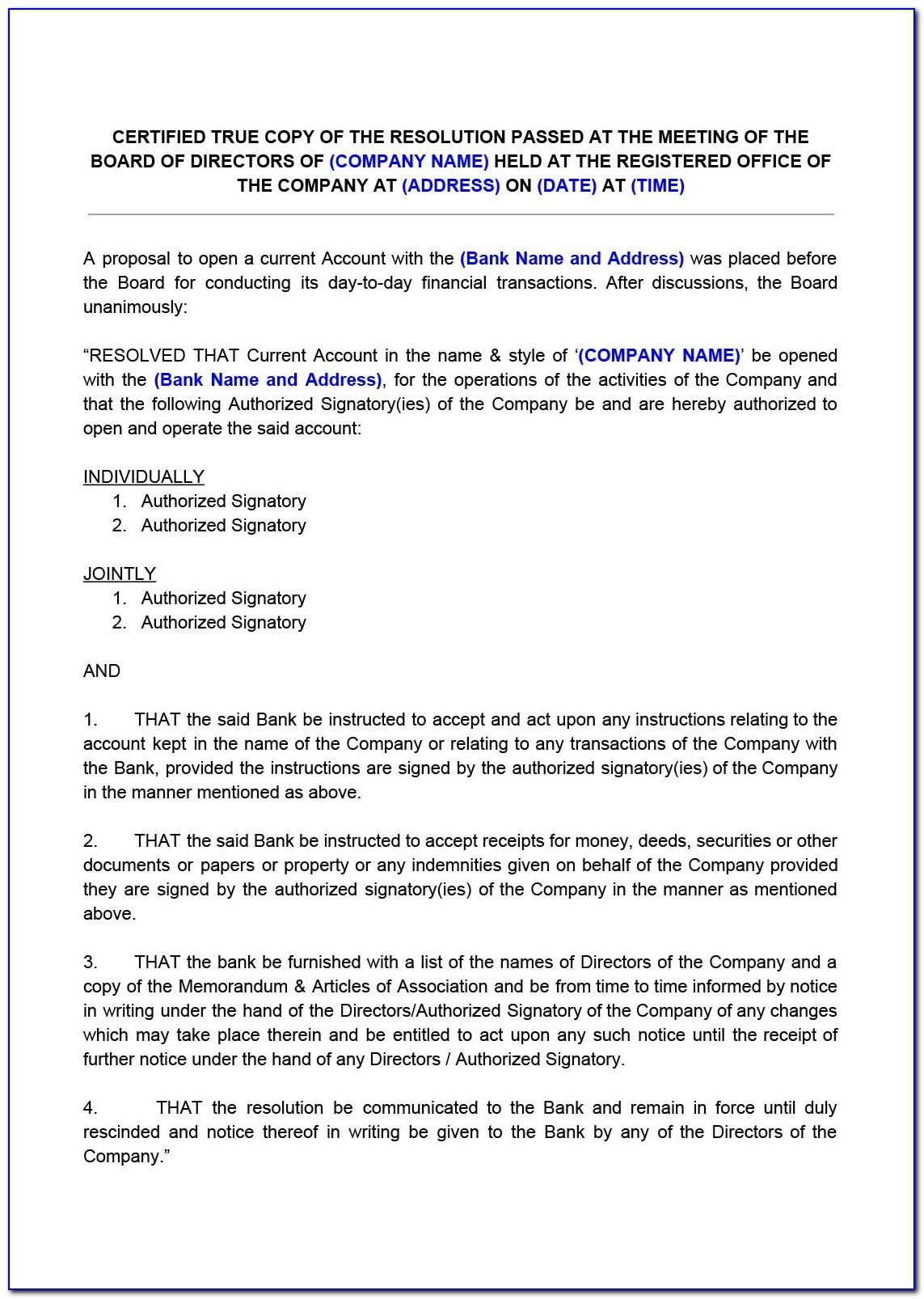 Private Limited Company Board Resolution Format For Bank Account