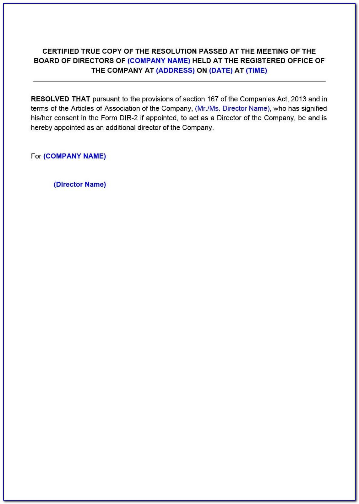 Private Limited Company Board Resolution Format