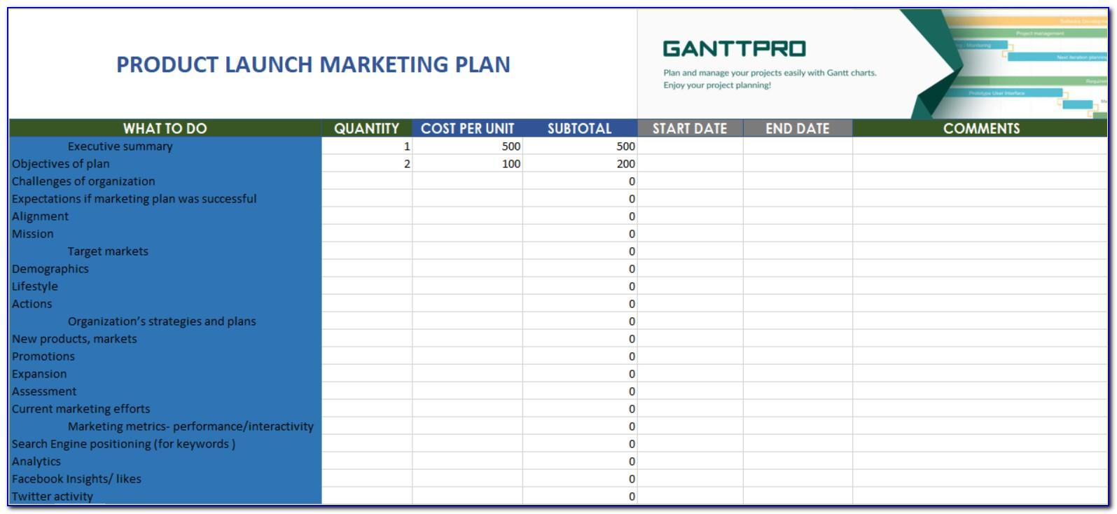 Product Launch Marketing Plan Sample