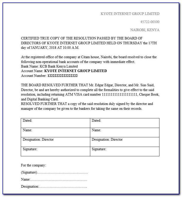 Pvt Ltd Company Board Resolution Format