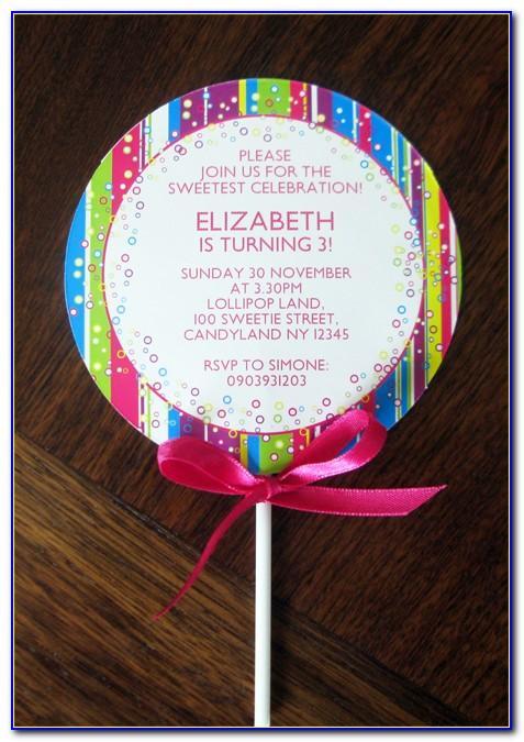Rainbow Lollipop Birthday Invitation Template