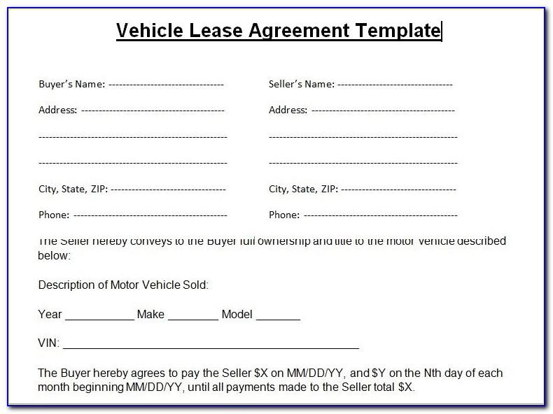Rent To Own Lease Agreement Template
