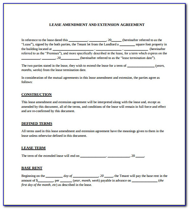 Rental Agreement Extension Template
