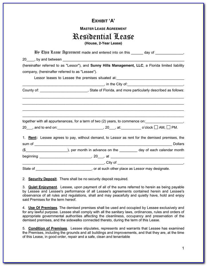 Rental Agreement Florida Bar