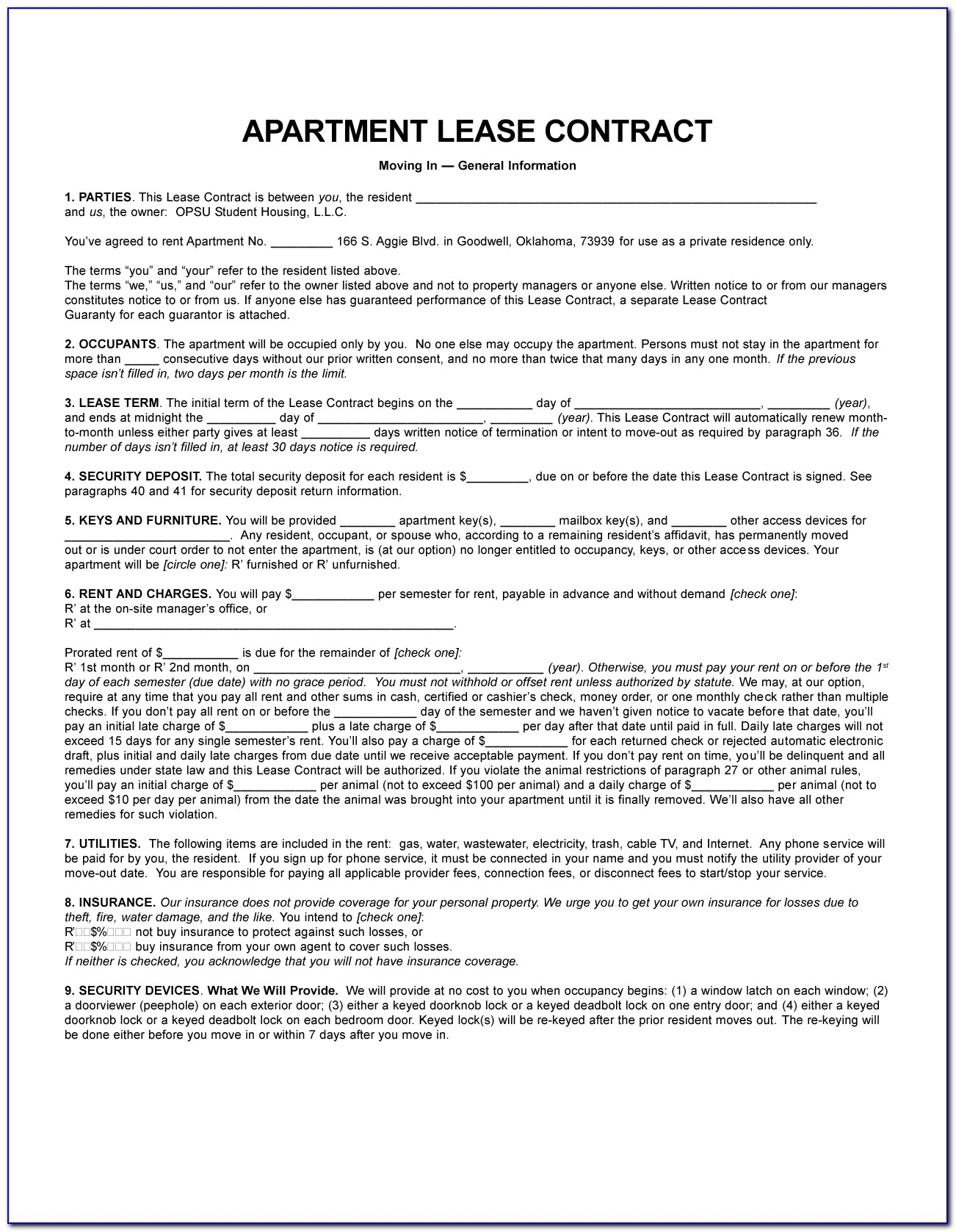 Rental Agreement Format Word