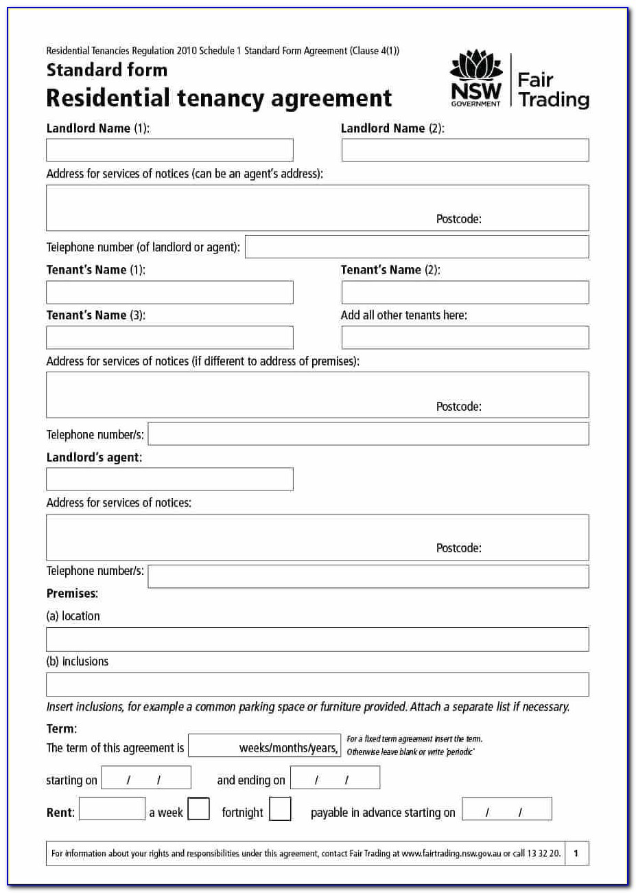Rental Agreement Forms Microsoft Word
