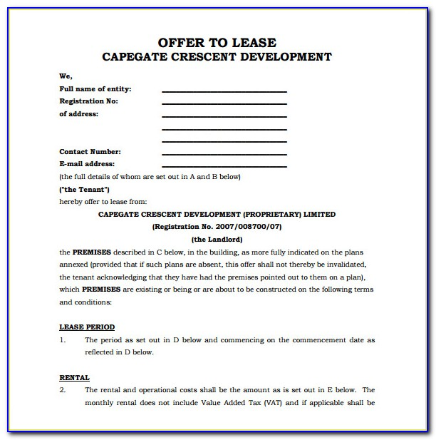 Rental Agreement Office Space Sample