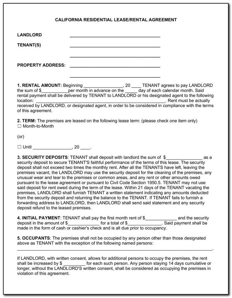 Rental Agreement Sample California