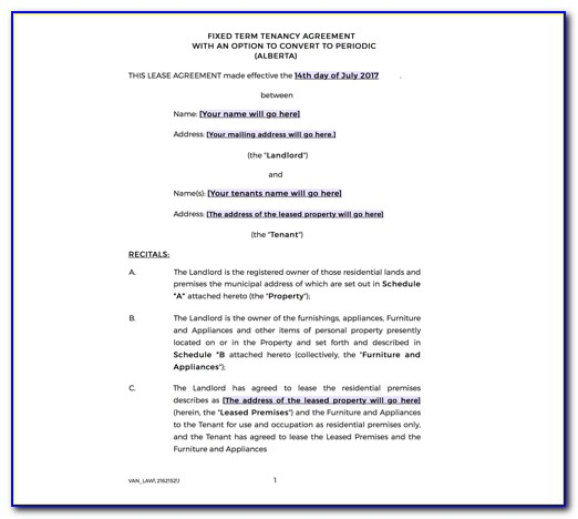 Rental Agreement Template Ireland