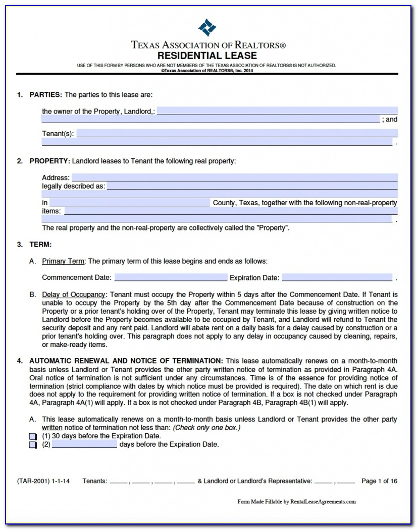 Rental Agreement Template South Africa Word