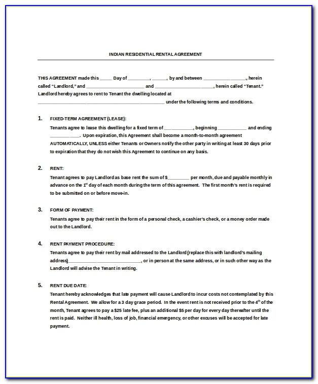 Rental Agreement Template Word India