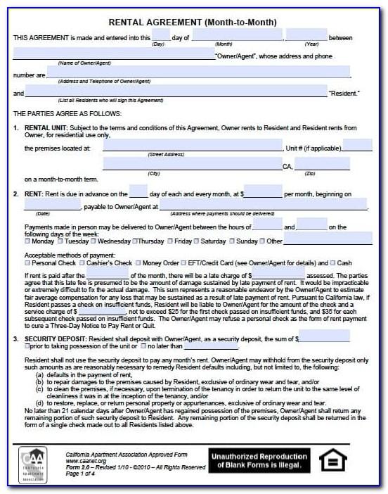 Rental Lease Agreement California Sample