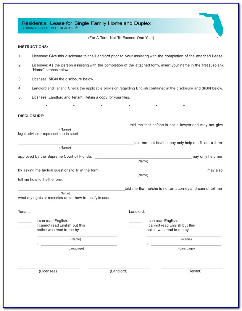 Rental Lease Agreement Florida Pdf