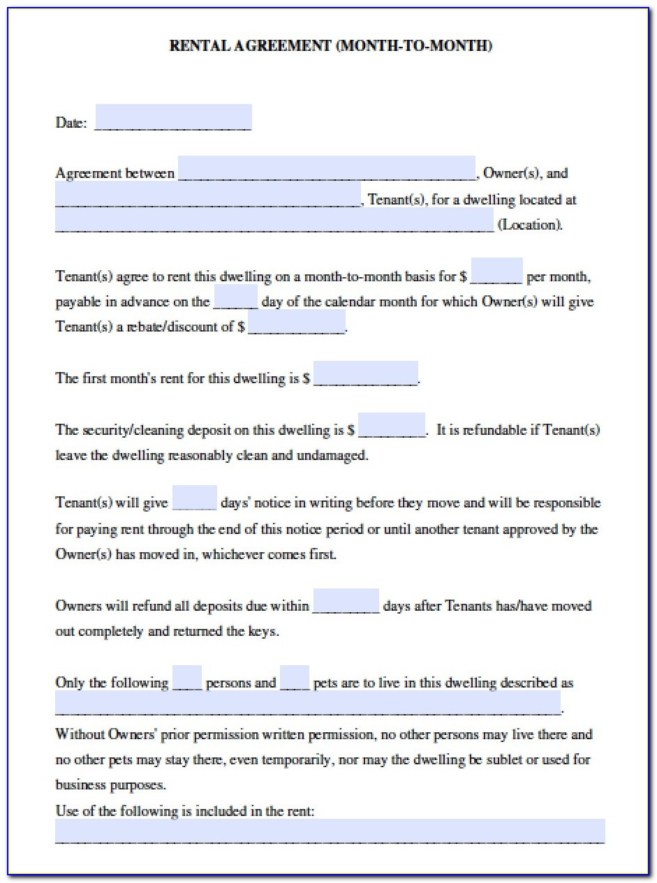Rental Lease Agreement Template California