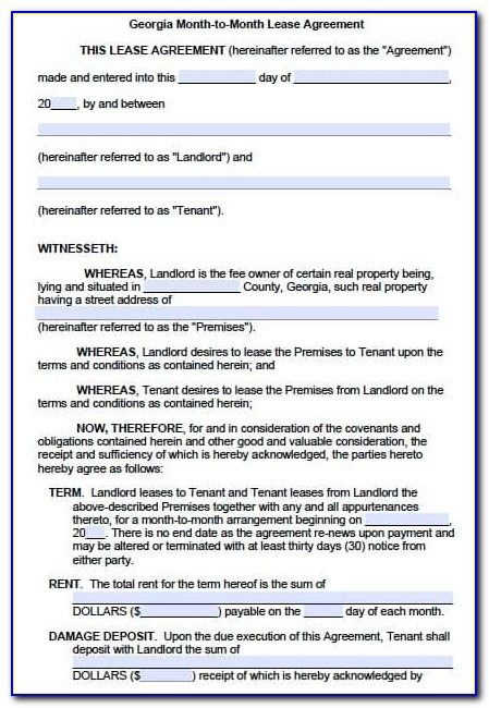 Rental Lease Agreement Template Ga