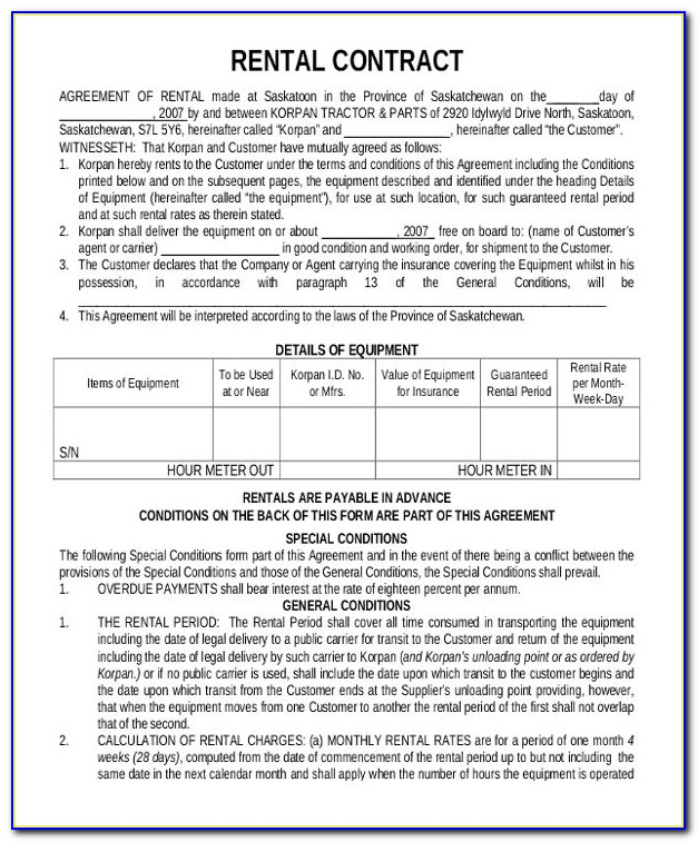 Renting Contract Template Free