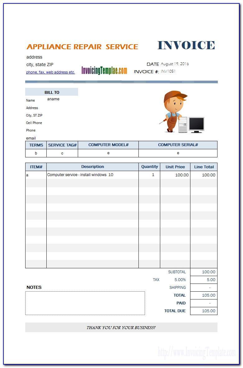 Repair Shop Invoice Template Free