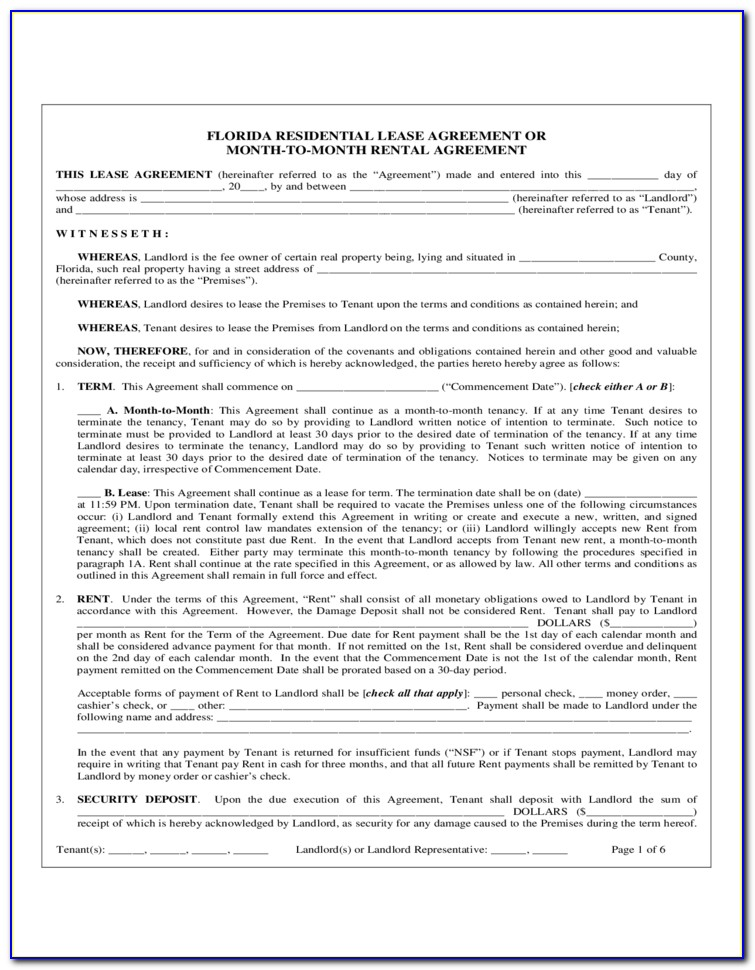 Residential Lease Agreement Florida 2018