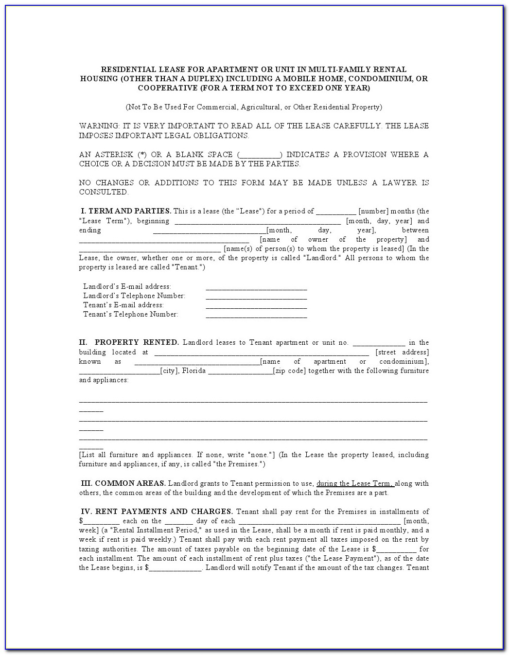 Residential Lease Agreement Florida Condo