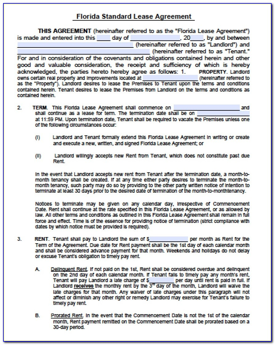 Residential Lease Agreement Florida Pdf