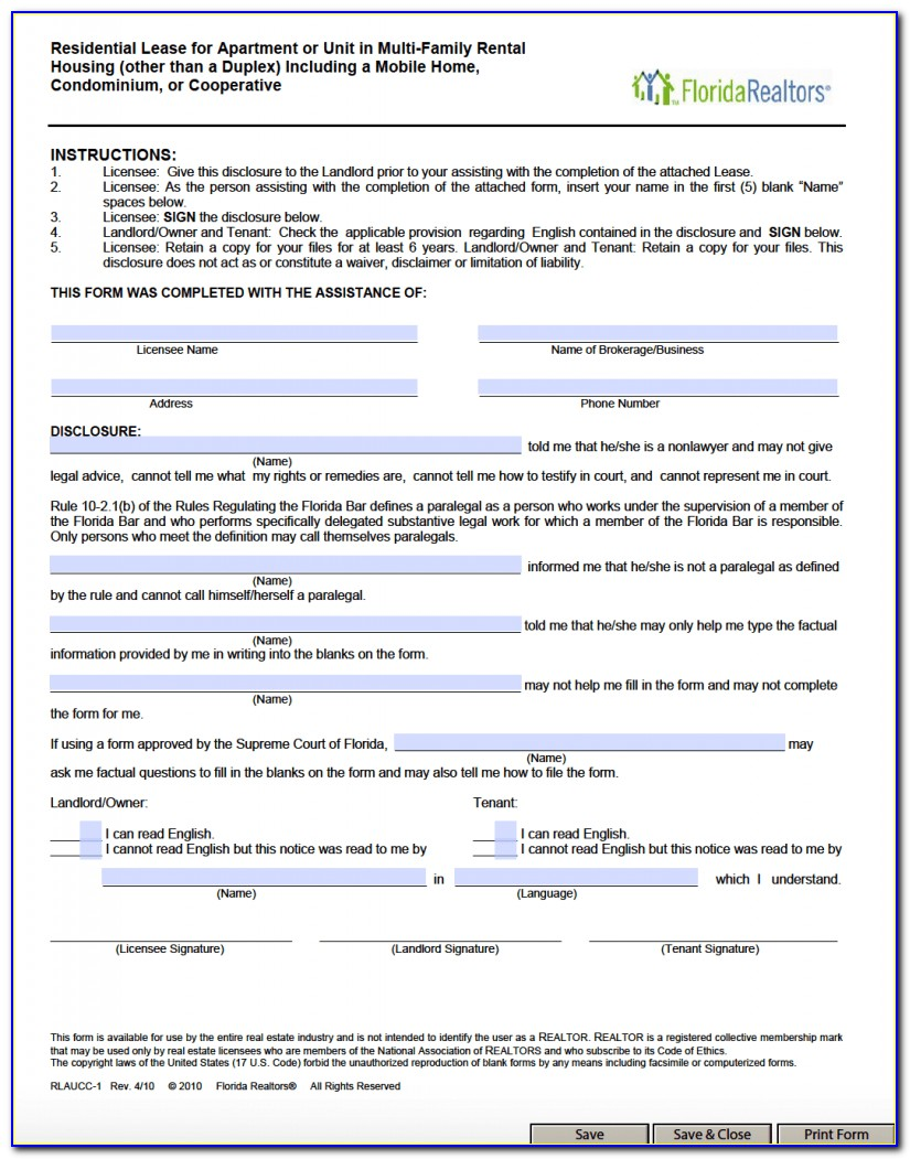 Residential Lease Agreement Florida Realtors