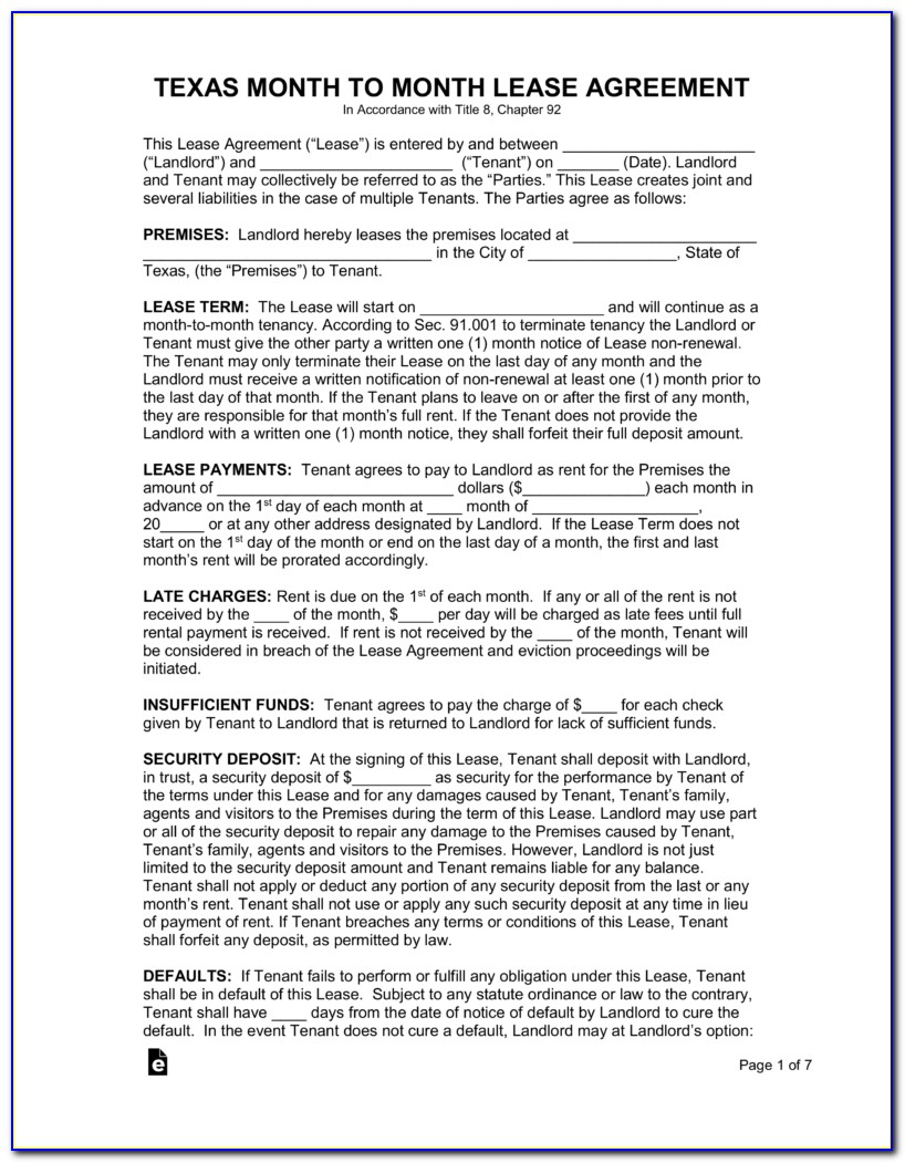 Residential Lease Agreement Texas Template