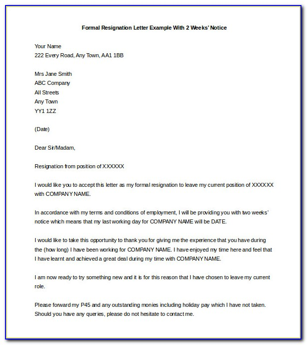 Resignation Letter Sample 2 Week Notice