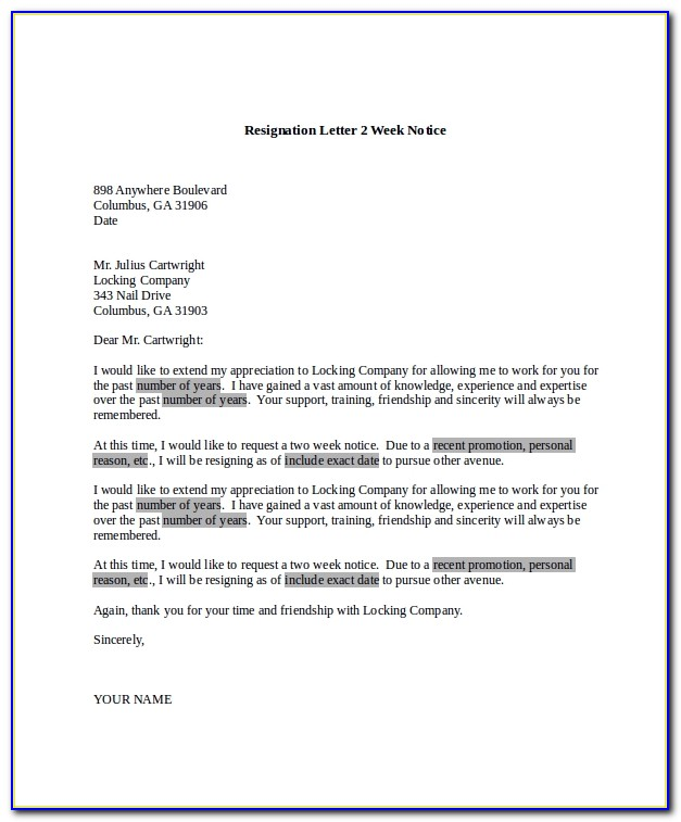 Resignation Letter Sample 2 Weeks Notice Doc