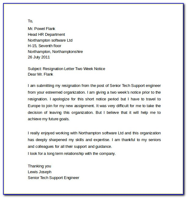 Resignation Letter Template Four Weeks Notice