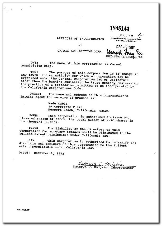 Sample Articles Of Incorporation Llc Georgia