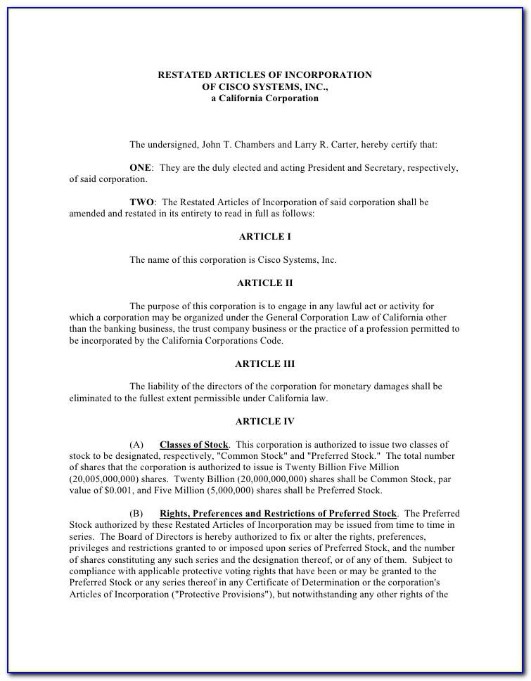 Sample Articles Of Incorporation Llc Maryland