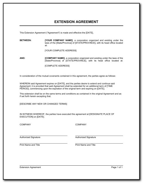 Sample Commercial Lease Extension Agreement