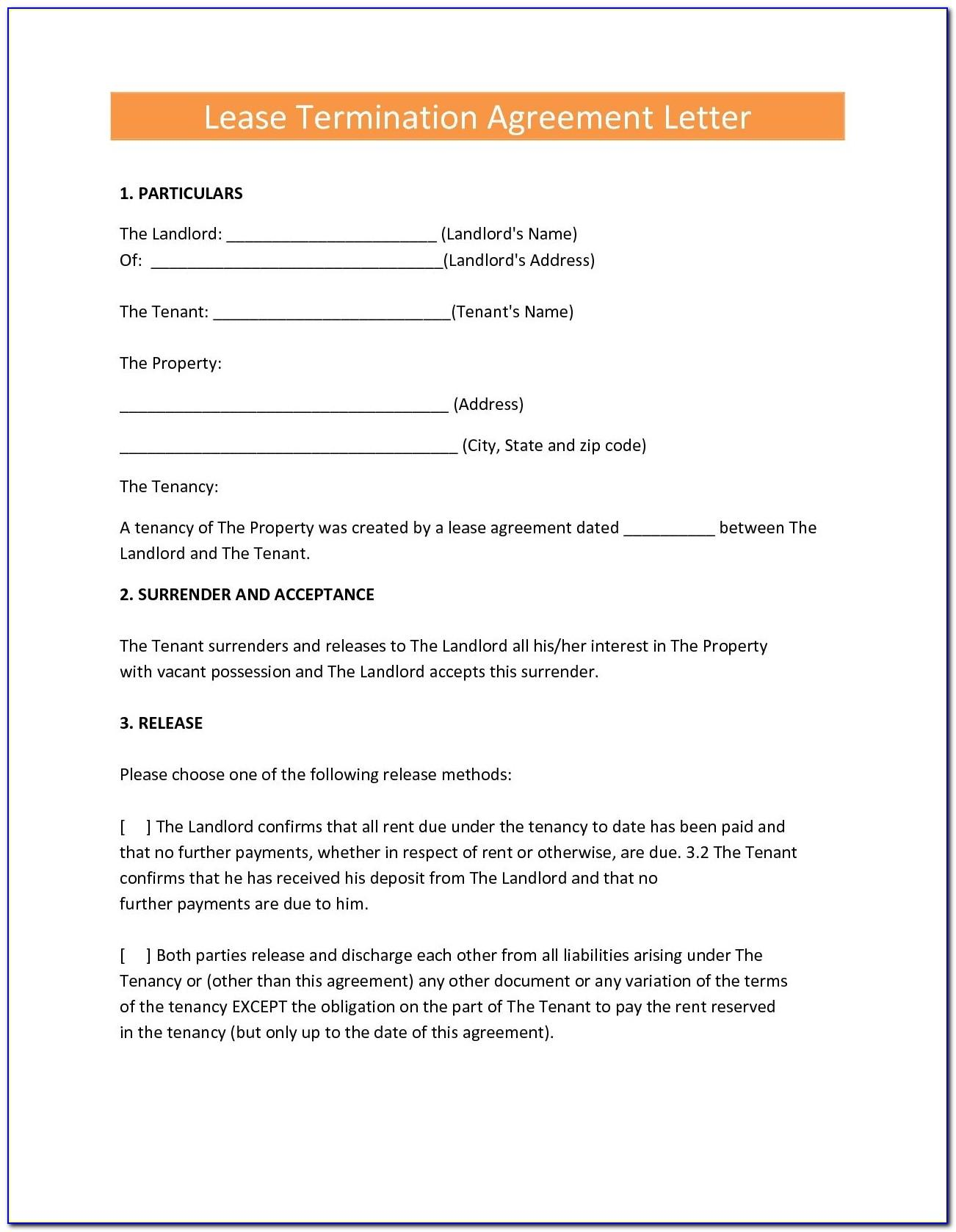 Sample Commercial Lease Termination Letter From Tenant To Landlord