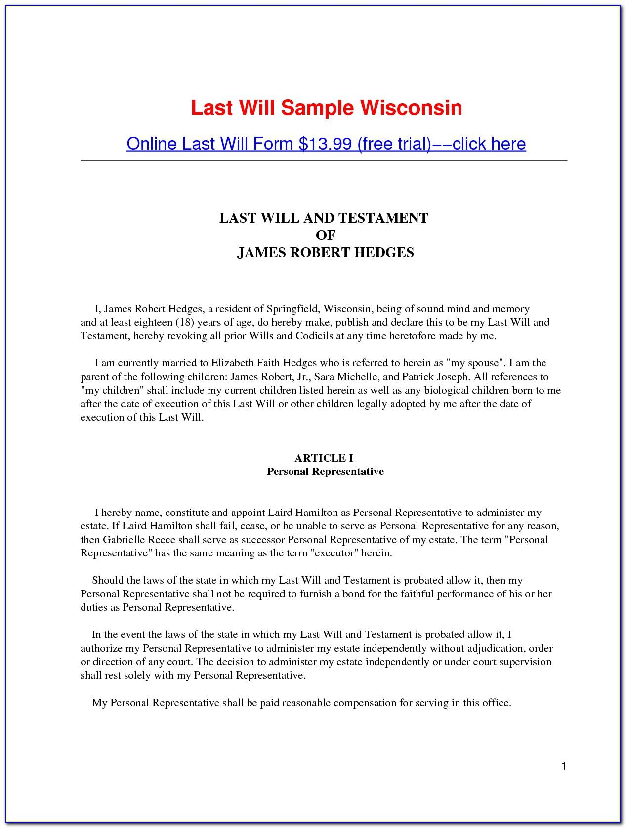 Sample Last Will And Testament West Virginia