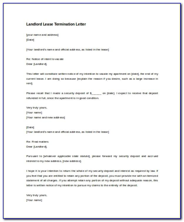 Sample Lease Termination Letter From Landlord To Tenant Uk