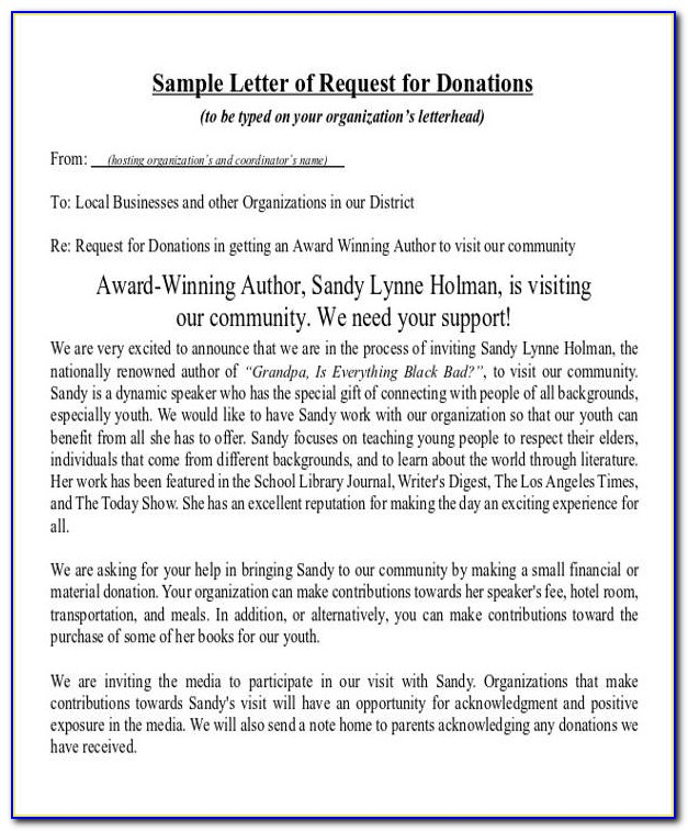Sample Letter Asking For Donations For College