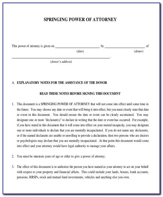 Sample Letter For Special Power Of Attorney