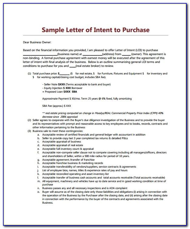 Sample Letter Of Intent Commercial Real Estate Lease