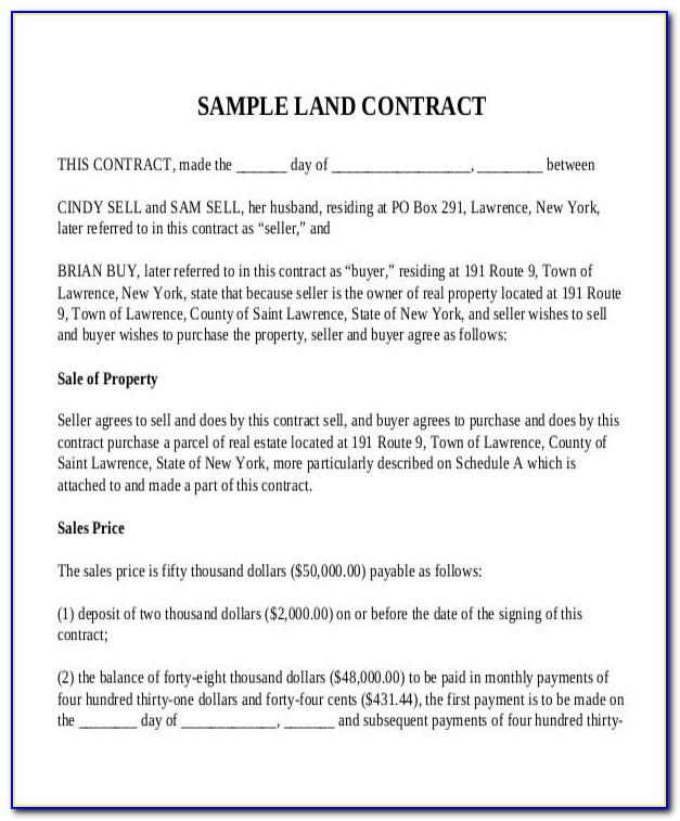 Selling Land Contract Form
