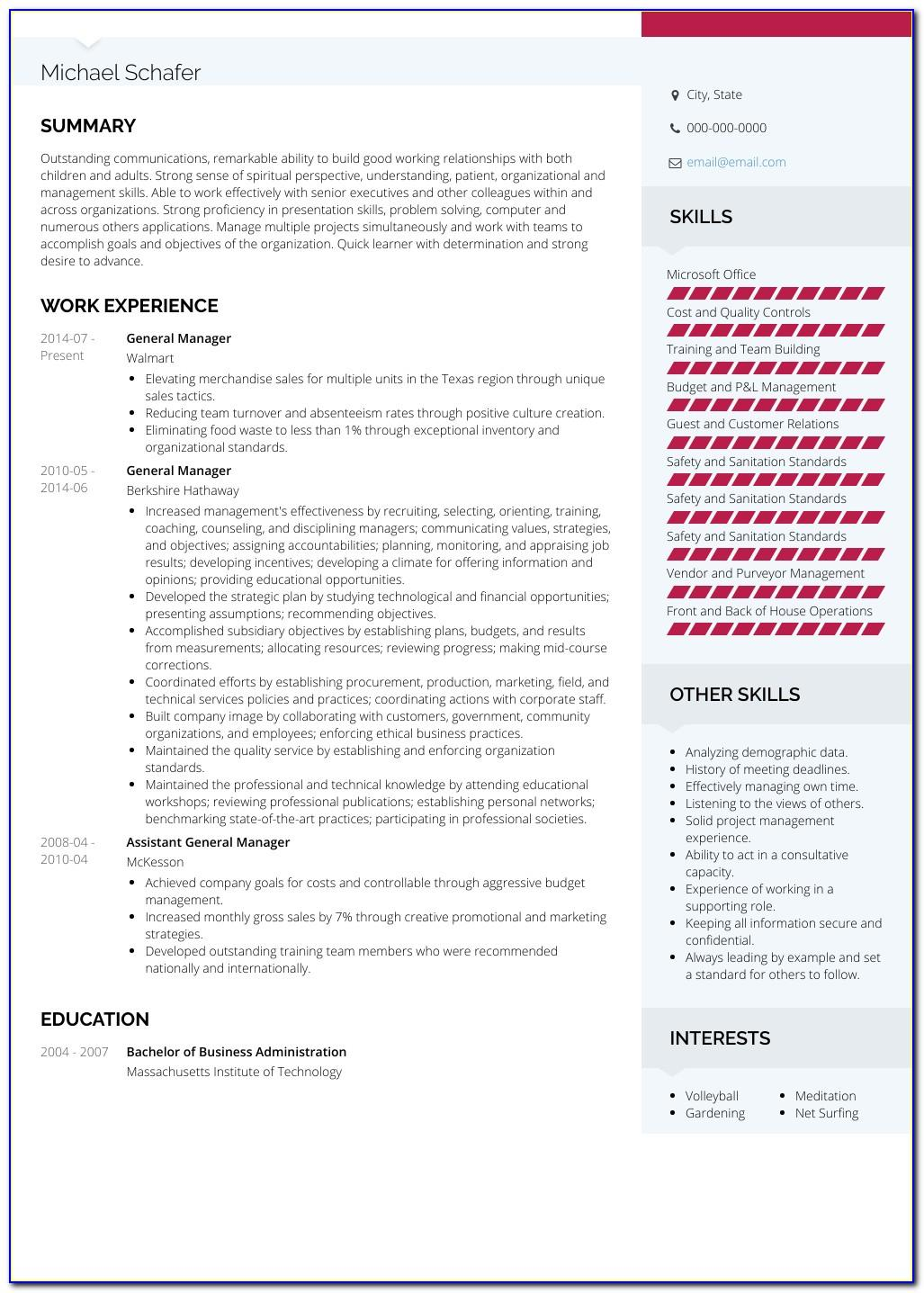 Senior Manager Resume Template Word