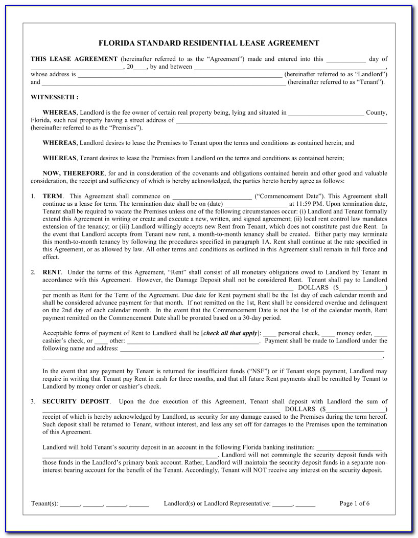 Simple Lease Agreement Florida Pdf