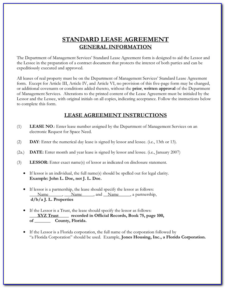 Standard Commercial Lease Agreement Florida