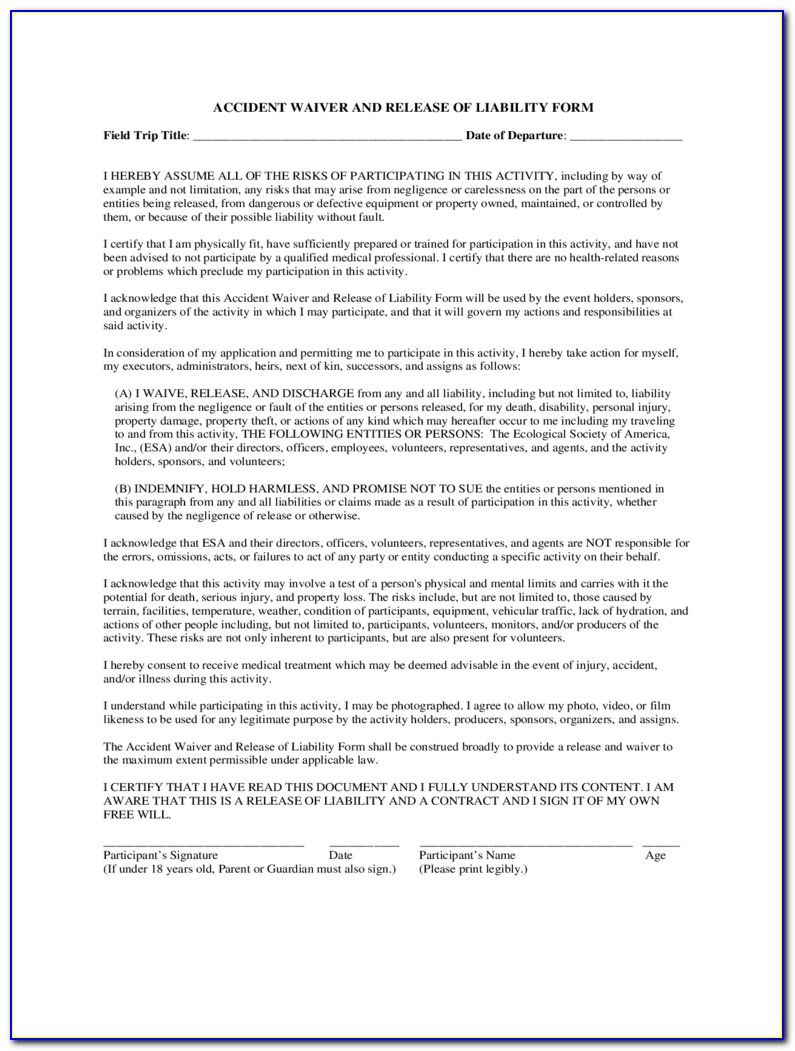 Standard Liability Waiver Release Form