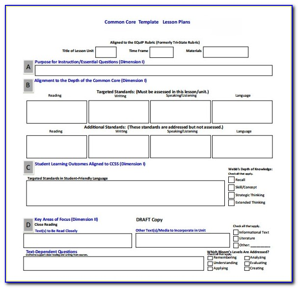 T Tess Observation Lesson Plan Template