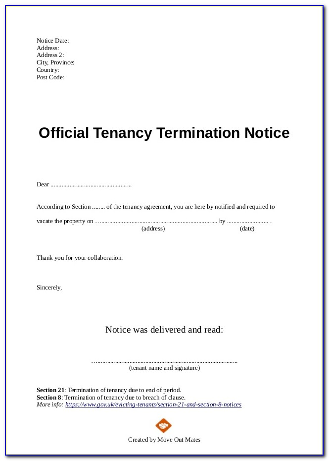 Tenancy Agreement Termination Letter From Landlord