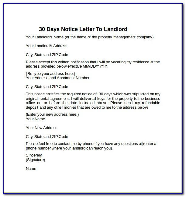 Tenancy Notice Letter Example