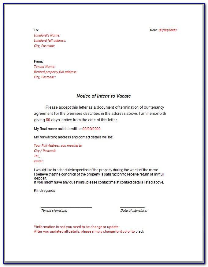 Tenancy Notice Letter Sample