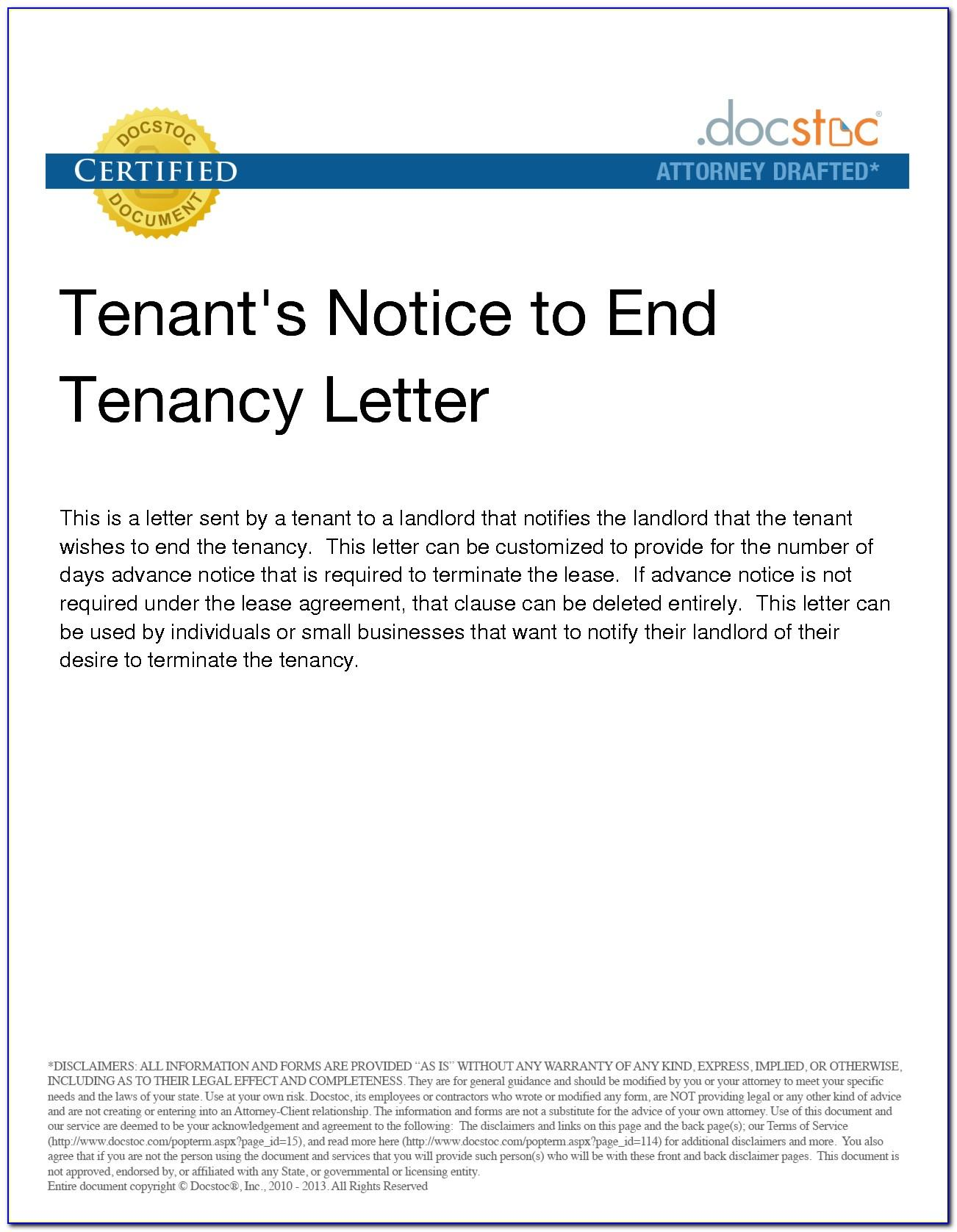 Tenancy Termination Letter Template