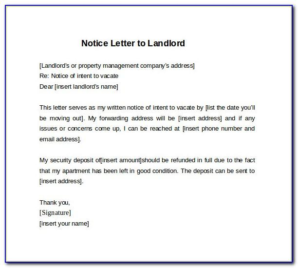 Tenant Notice Letter To Landlord Samples